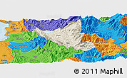 Shaded Relief Panoramic Map of Mat, political outside
