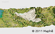 Shaded Relief Panoramic Map of Mat, satellite outside