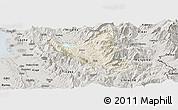 Shaded Relief Panoramic Map of Mat, semi-desaturated