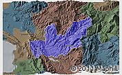 Political 3D Map of Mirditë, darken, semi-desaturated