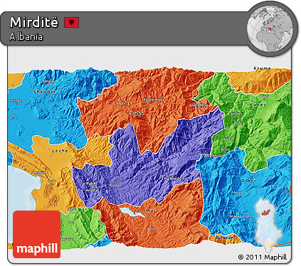 Political 3D Map of Mirditë