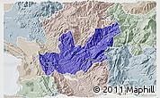 Political 3D Map of Mirditë, lighten, semi-desaturated