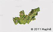 Satellite 3D Map of Mirditë, cropped outside