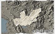 Shaded Relief 3D Map of Mirditë, darken