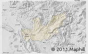Shaded Relief 3D Map of Mirditë, desaturated
