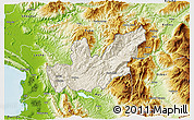 Shaded Relief 3D Map of Mirditë, physical outside