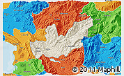 Shaded Relief 3D Map of Mirditë, political outside