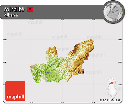 Physical Map of Mirditë, cropped outside