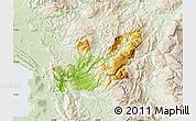 Physical Map of Mirditë, lighten