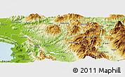 Physical Panoramic Map of Mirditë