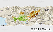 Physical Panoramic Map of Mirditë, shaded relief outside