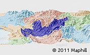 Political Panoramic Map of Mirditë, lighten