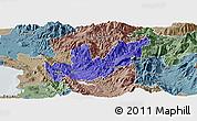 Political Panoramic Map of Mirditë, semi-desaturated