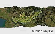 Satellite Panoramic Map of Mirditë, darken