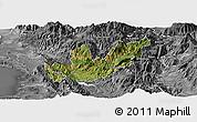 Satellite Panoramic Map of Mirditë, desaturated