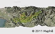 Satellite Panoramic Map of Mirditë, semi-desaturated