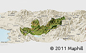 Satellite Panoramic Map of Mirditë, shaded relief outside