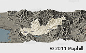 Shaded Relief Panoramic Map of Mirditë, darken