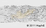 Shaded Relief Panoramic Map of Mirditë, desaturated