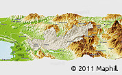 Shaded Relief Panoramic Map of Mirditë, physical outside