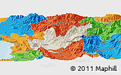 Shaded Relief Panoramic Map of Mirditë, political outside