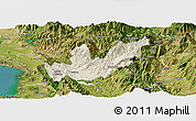 Shaded Relief Panoramic Map of Mirditë, satellite outside