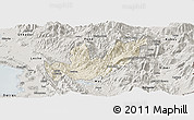 Shaded Relief Panoramic Map of Mirditë, semi-desaturated