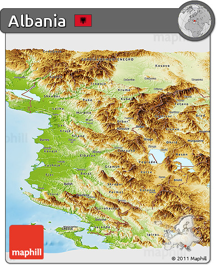 Free Physical Panoramic Map Of Albania - Albania physical map