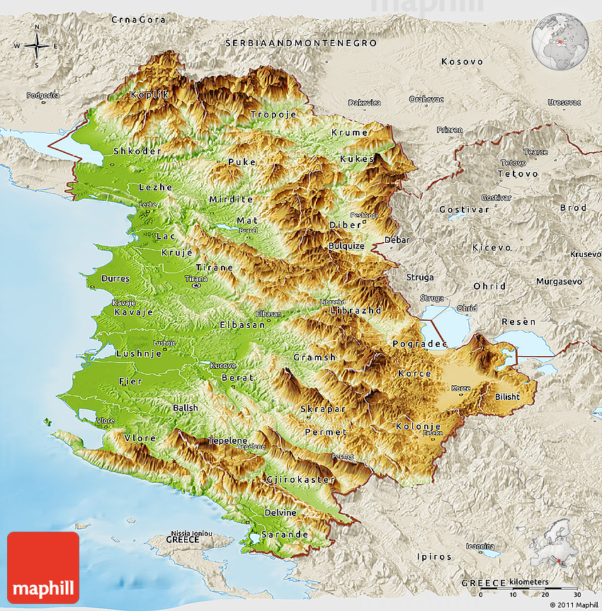 Physical Panoramic Map Of Albania Shaded Relief Outside - Albania physical map
