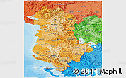 Political Shades Panoramic Map of Albania