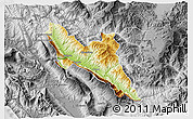 Physical 3D Map of Përmet, desaturated