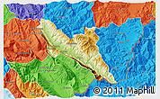 Physical 3D Map of Përmet, political outside