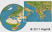 Satellite Location Map of Përmet