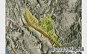 Satellite Map of Përmet, semi-desaturated