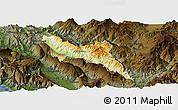 Physical Panoramic Map of Përmet, darken