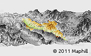 Physical Panoramic Map of Përmet, desaturated