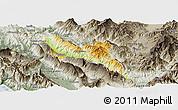 Physical Panoramic Map of Përmet, semi-desaturated