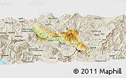 Physical Panoramic Map of Përmet, shaded relief outside