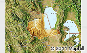 Physical Map of Pogradec, satellite outside