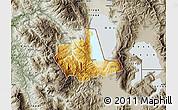 Physical Map of Pogradec, semi-desaturated