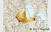 Physical Map of Pogradec, shaded relief outside