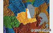 Political Map of Pogradec, darken
