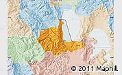 Political Map of Pogradec, lighten