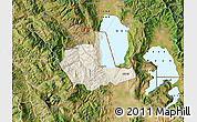 Shaded Relief Map of Pogradec, satellite outside