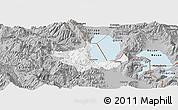 Gray Panoramic Map of Pogradec