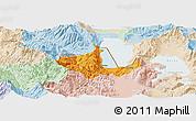 Political Panoramic Map of Pogradec, lighten