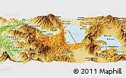 Political Panoramic Map of Pogradec, physical outside