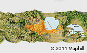 Political Panoramic Map of Pogradec, satellite outside