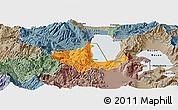 Political Panoramic Map of Pogradec, semi-desaturated