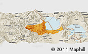 Political Panoramic Map of Pogradec, shaded relief outside